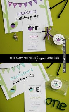 Free printable party set for a bug-themed first birthday party | CHECK OUT MORE IDEAS AT WEDDINGPINS.NET | #printableweddingtemplates
