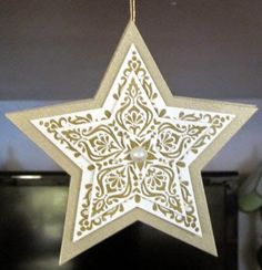 Maria's Star Ornament: Bright & Beautiful, gold card stock & embossing powder, Star framelits. All supplies from Stampin' Up!