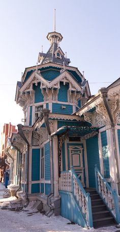 Russian wooden house in the Siberian city of Tomsk.