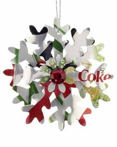 Diet Coke meets 7 Up!  Both of these cans were used to make this recycled ornament.  The colors are very holiday!  Great gift for a diet soda drinker!  Buy it now for  $9.95 at www.ornamentshop.com