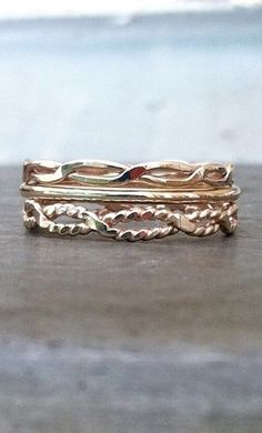 The Infinity Twist, Stack of three 14k gold filled ring