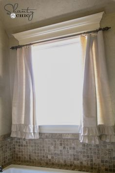 bathroom curtains and hardware on a budget with ruffles on the bottom - love them! www.shanty-2-chic.com