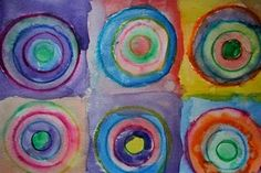 Art Gala: Draw the circles with crayon on a coffee filter, then have the kids color in with washable marker. Let the kids spray the colored filter lightly with water in a spray bottle-- this is the result you will get. Can cut into any shape once dry. What a clever idea! Can use for nursery or big kids!