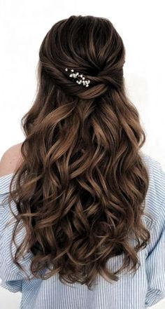 Wedding Hairstyles For Long Hair, Bride Hairstyles, Hairstyle Ideas, Gorgeous Hairstyles, Bridesmaid Hairstyles, Retro Hairstyles, Simple Hairstyle For Party, Prom Hairstyles For Long Hair Half Up, Half Up Half Down Hairstyles