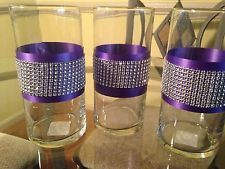 cylinder rhinestone vase | Glass Cylinder Vases Purple and Bling