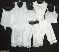 Eight Pieces Ladies' Whites, All cotton or linen-trimmed with lace and/or embroidery: two camisoles; one monogrammed set of corset cover and matching drawers; one fitted corset cover; three pairs of drawers. Vintage Corset, Vintage Underwear, Vintage Lingerie, White Underwear, Historical Costume, Historical Clothing, Edwardian Fashion, Vintage Fashion, Vintage Outfits