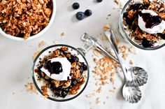 roasted blueberry coconut quinoa parfaits with coconut granola | How Sweet It Is