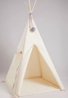 Natural Plain Tipi with Grey pom pom Diy Teepee, Done By Deer, Baby Playroom, Boy Room, Hanging Chair, Kids Bedroom, Bedroom Ideas, Baby Toys, Nursery Decor