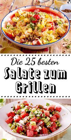 Salads for grilling - that tastes great with sausages, steak & Co.-Salate zum Grillen – das schmeckt zu Würstchen, Steak & Co. The food to be grilled is almost a minor matter – this 25 For # Salads to the you shouldn't miss it! Summer Grilling Recipes, Summer Recipes, Healthy Dinner Recipes, Pork Chop Recipes, Sausage Recipes, Steak Salat, Whole 30 Recipes, Summer Salads, Steaks