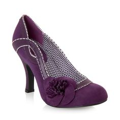 Ruby Shoo ISSY vintage inspired aubergine floral court shoe with flower corsage, contrast piping detail and lining, and flower corsage.