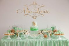Mint & gold  dessert table for a christening event - by Little Sooti