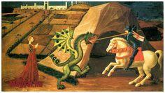 Musée Jacquemart-André - Saint Georges et le Dragon par Paolo Uccello, Medieval Paintings, Renaissance Paintings, Renaissance Art, Dragon C, Saint George And The Dragon, Saint Georges, Dragon Slayer, Catholic Saints, Catholic Memes