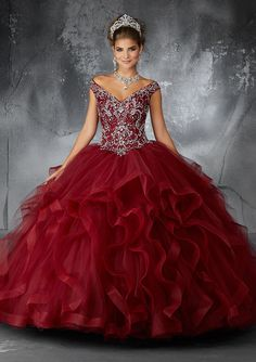 Perfect for a Grand Entrance, This Stunning Tulle Quinceañera Dress Combines an Exquisitely Beaded V Neck Bodice with a Dreamy Flounced Skirt. Keyhole Corset Back. Mori Lee Quinceanera Dresses, Burgundy Quinceanera Dresses, Mexican Quinceanera Dresses, Mexican Dresses, Pageant Dresses, 15 Dresses, Ball Dresses, Ball Gowns, Fashion Dresses