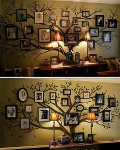 This reminds me of the Black family tapestry in Harry Potter! So doing this someday! Family tree painted on the wall, then add photos!
