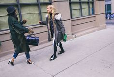 Street Style: New York Fashion Week Fall 2015 – Vogue Nausheen Shah in a Cedric Charlier coat and The Kooples shoes, and Kate Foley in a Tory Burch top, Marni skirt and shoes, and a Mark Cross bag #NYFW
