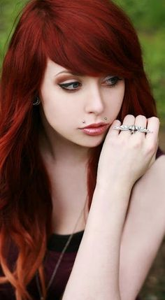 pretty makeup and red hair scene-hair