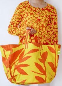 Tropical Leaves Orange & Yellow Circle Tote