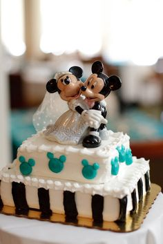 "At Home Disney Wedding - Mickey Cake {Crystal Lee Photography} -- several clever ideas here if you're doing your own ""Disney Wedding"" ... but not at Disney World!"