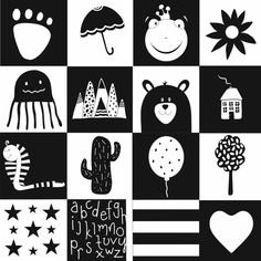 You can use our Black and White Cards to stimulate your baby's brain. They are also ideal for open-ended Montessori games. 100 cards 50 unique designs – black on white and white on black each. Baby Flash Cards, Baby Cards, Black And White Baby, Black And White Pictures, High Contrast Images, Newborn Schedule, Montessori Baby, Montessori Classroom, Baby Images