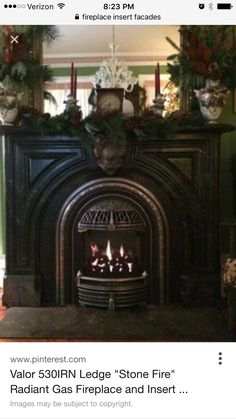 """Valor """"Coal Fire"""" Radiant Gas Fireplace and Insert. Installed with Polished Windsor Arch in Antique Fireplace Mantel. Reface Fireplace, Antique Fireplace Mantels, Victorian Fireplace, Stove Fireplace, Fireplace Inserts, Fireplace Mantle, Fireplace Surrounds, Fireplace Design, Mantles"""