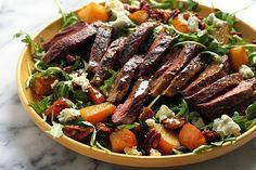 Arugula Skirt Steak Salad with Caramelized Pears, Pecans, and Gorgonzola