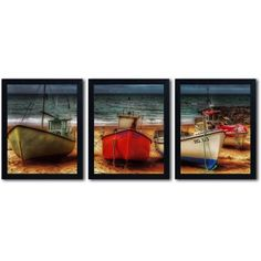 Trademark Fine Art Resting Boats by Erik Brede 3-Piece Multi-Frame Set