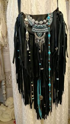 Handmade Black Leather Fringe Cross Body Bag Hippie Boho Hobo Gypsy Purse tmyers #Handmade #MessengerCrossBody