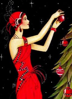 Vintage Christmas Cards, Artist unknown - Looks to be a partial card, vintage? Art deco-style.
