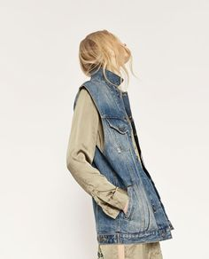 Image 1 of OVERSIZE DENIM WAISTCOAT from Zara