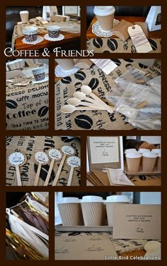 {Pre Made Party Kit} Actual Photos for Coffee & Friends Party Kit Fine Print: Little Bird Celebrations does not claim to hand make a. Coffee Themed Party, Coffee Bar Party, Coffee Tasting, Coffee And Books, Coffee Love, Coffee Shop, Coffee Cups, Breakfast Party Decorations, Party Themes