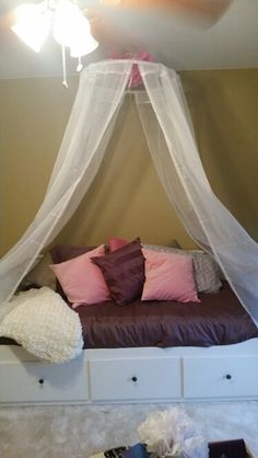 New canopy and day bed & Canopy made of hula hoop ribbon ikea sheer curtains and pom poms ...