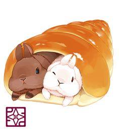 Chocolate & vanilla cornet ~ rabbits