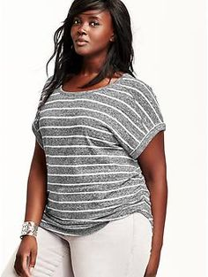 Womens Plus Dolman-Sleeve Ruched-Side Tops