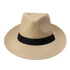 Mode chaude D'été Casual Unisexe Plage Trilby Bord Large Jazz Soleil chapeau Panama Chapeau Papier De Paille Femmes Hommes Cap Avec Ruban Noir