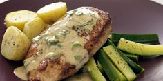 Recipe for Chicken Breast with Basil Wine Sauce | Heavy cream instead of light cream, and no potatoes.