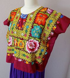 Mexican embroidery VINTAGE Tehuana huipil maroon satin blouse - Oaxaca - Frida - Large