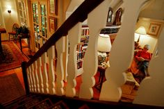 Looking down to the living room through the period balusters.
