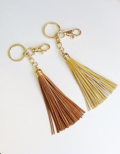Leather Tassel Keychain or Bag Charm  For by LoveAndreasCloset, $16.00