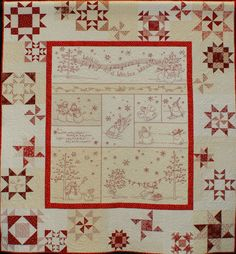 """900-WinterWonderland.jpg - 3rd Place - 900Elaine Haycraft - Winter Wonderland -- Mixed Technique - 2 or more persons. Judged. 65x72"""". 2010. Machine quilted by Denise Green. Designs by Meg Hawkey, Crabapple Hill Studio, 2006The embroidered areas are lined with plain white muslin. The stitching is done using the stem stitch. The decorative stitching along the seam lines is done in the fly stitch."""