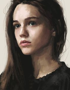 Artist: David Seguin {figurative realism art beautiful female head woman face portrait digital painting}