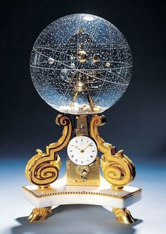 Is this not THE COOLEST CLOCK EVER? I wouldn't be able to take my eyes off of it! Table Clock With Planetarium. The planetarium clock is an absolute work of art. It was made in 1770 in Paris. Objets Antiques, Antique Clocks, Vintage Clocks, Vintage Globe, 3d Prints, Objet D'art, Constellations, Snow Globes, Cool Stuff
