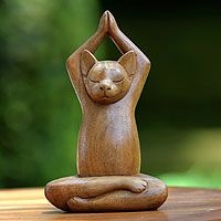 Wood sculpture, Toward the Sky Brown Yoga Cat by Nengah Sudarsana