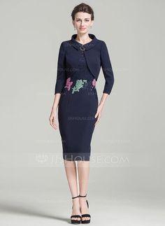 [AU$ 140.97] Sheath/Column Scoop Neck Knee-Length Mother of the Bride Dress With Beading (008080195)