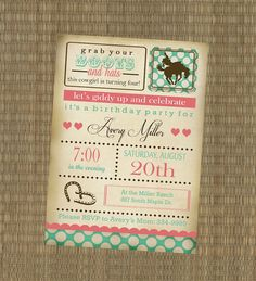 Cowgirl invitation  Vintage cowgirl invitation  Shabby by elskr79, $15.00