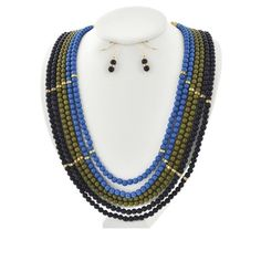 "Royalty beaded necklace set Gold Tone/ Blue Acrylic Bead/ Lead&Nickel Compliant/ Fish Hook (earrings)/ Length: 19 1/2"" /Earring: 1 1/4""/ Drop: 2"" R.E.A.L Jewelry Jewelry Necklaces"