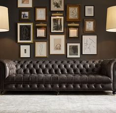 New Living Room Dark Furniture Brown Leather Offices Ideas Living Room Seating, New Living Room, Living Room Sofa, Living Room Decor, Dark Furniture, Bedroom Furniture Sets, Industrial Furniture, Industrial Lamps, Reclaimed Furniture