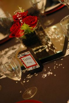 Red, White, Black & Damask Wedding (Roses w/Pearls & Black Feathers) :  wedding black ceremony flowers reception red white Table Numbers1
