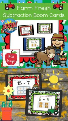 My Farm Fresh Subtraction Digital Task Card set includes 40 task cards which are accessed via Boom Learning. Each digital task cards focuses basic subtraction facts 0-20. All task cards are accented with bright colors and farm themed graphics. #teacherspayteachers #tpt #boomcards #boomlearning Learning Resources, Classroom Resources, 1st Grade Activities, Math Workshop, Teacher Tools, Math Games, Task Cards, Math Lessons, Math Centers