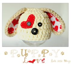 Puppy Hat Newborn,Valentine Hat,Photo prop, Baby Girl or baby boy -Tan Beige , Off white, Red-Made to Order. $25.00, via Etsy.