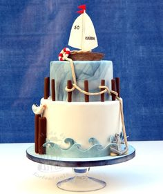 Sailboat cake - Birthday cake for a good friend. All decorations out of modelling fondant, waves cut out of gumpaste with my cricut. For more pictures please visite my website :-)
